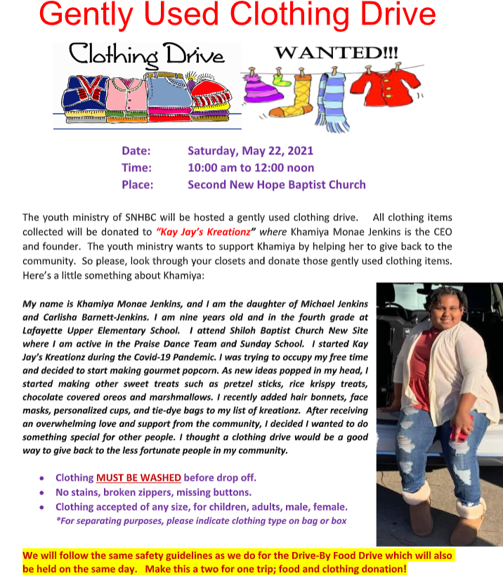 Clothing Drive SNH 052221